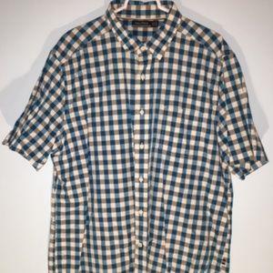Men's Nautica Blue White Plad Button Up XL
